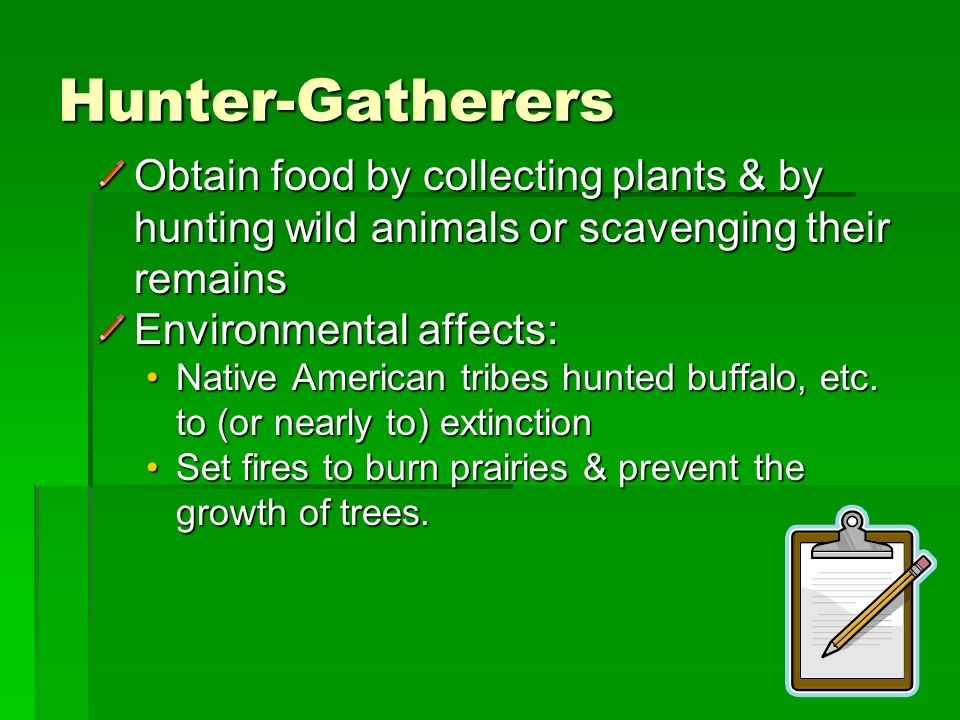 Hunter-Gatherers Obtain food by collecting plants & by hunting wild animals or scavenging their remains.