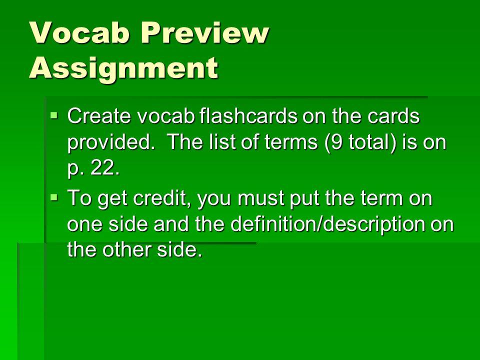 Vocab Preview Assignment
