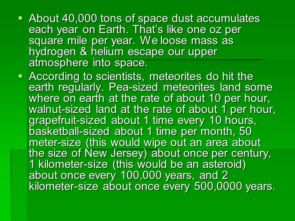 About 40,000 tons of space dust accumulates each year on Earth