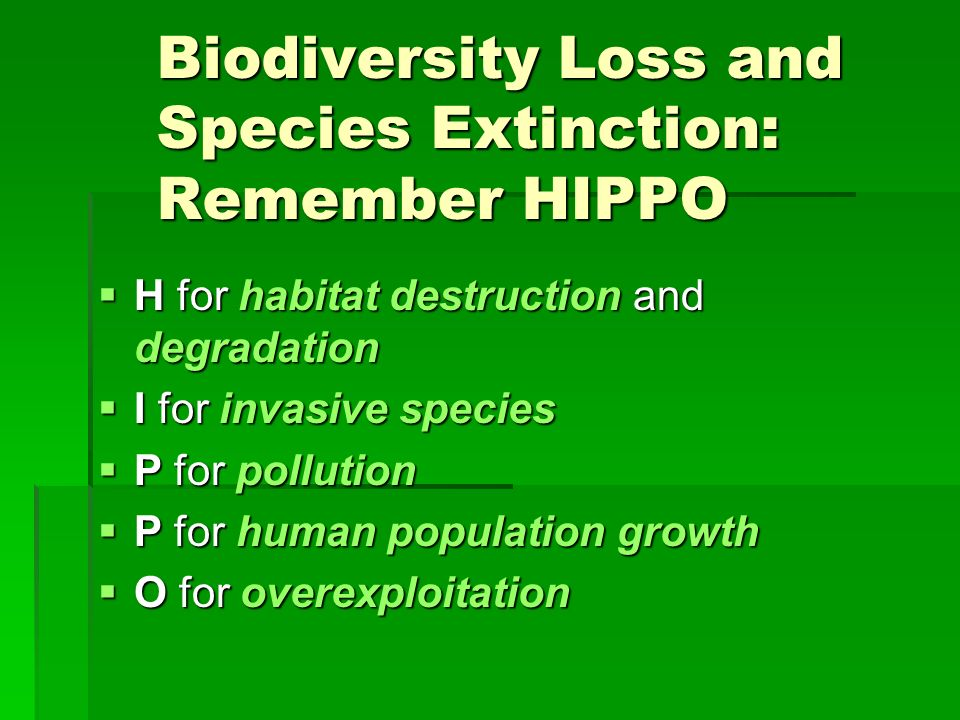 Biodiversity Loss and Species Extinction: Remember HIPPO