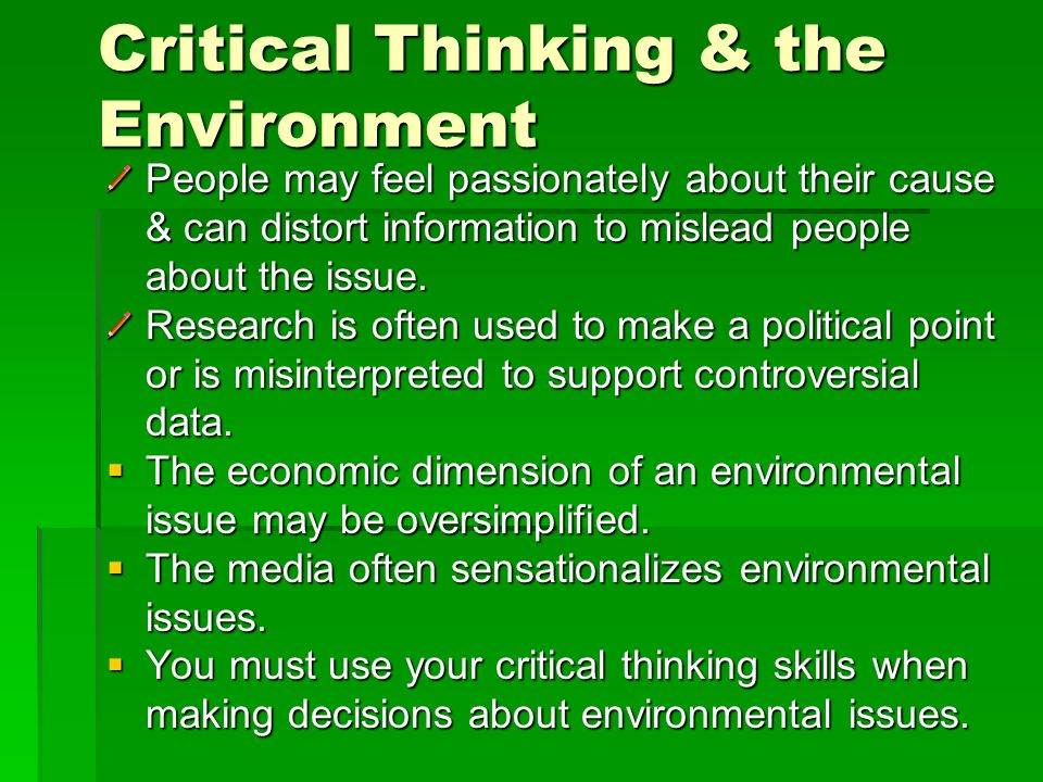 Critical Thinking & the Environment