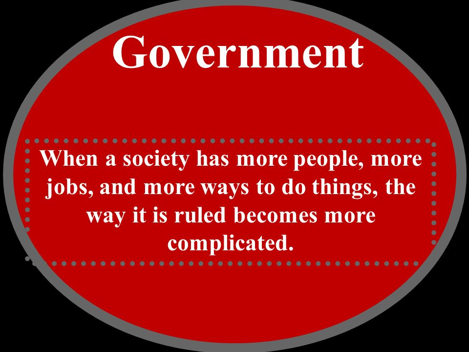 Government When a society has more people, more jobs, and more ways to do things, the way it is ruled becomes more complicated.