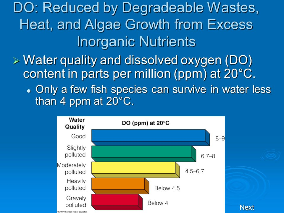 DO: Reduced by Degradeable Wastes, Heat, and Algae Growth from Excess Inorganic Nutrients