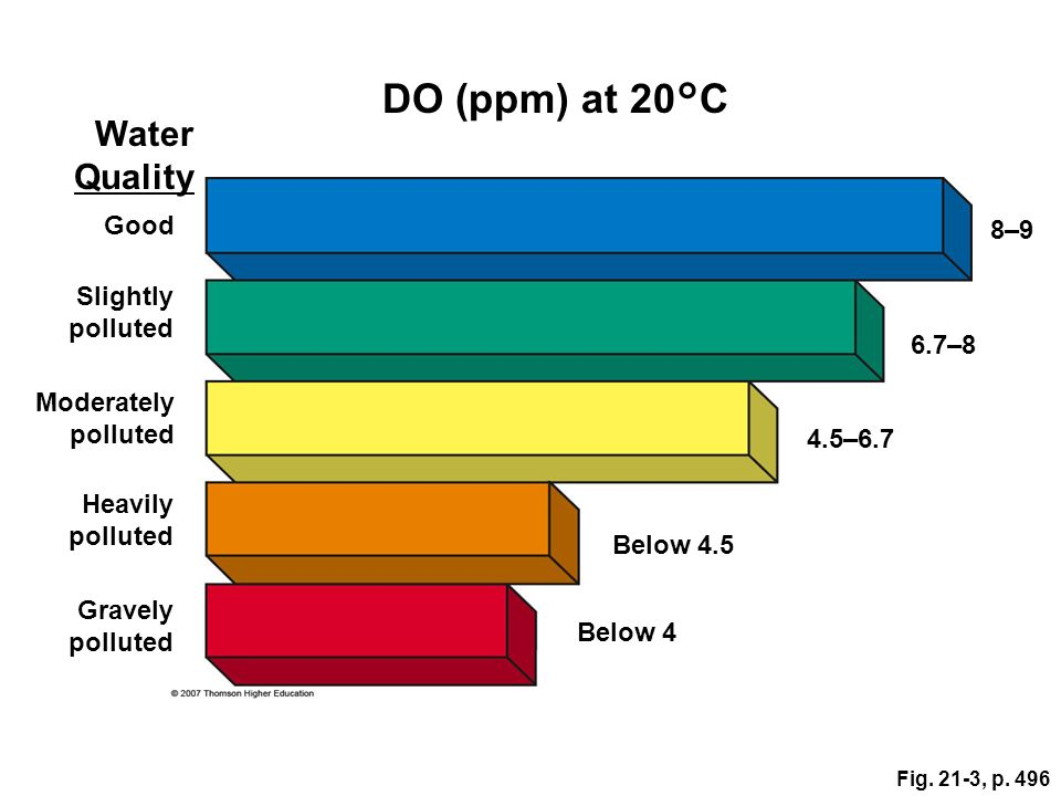 DO (ppm) at 20°C Water Quality Good 8–9 Slightly polluted 6.7–8