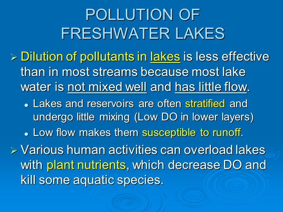 POLLUTION OF FRESHWATER LAKES