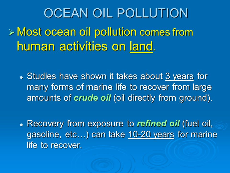 OCEAN OIL POLLUTION Most ocean oil pollution comes from human activities on land.