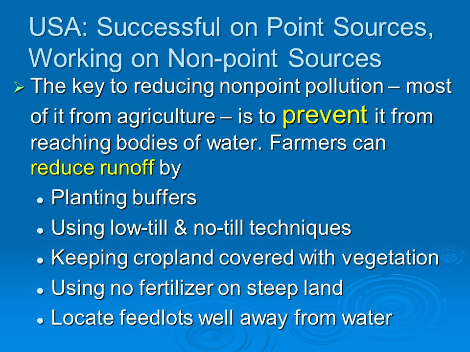 USA: Successful on Point Sources, Working on Non-point Sources
