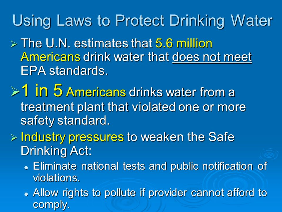 Using Laws to Protect Drinking Water