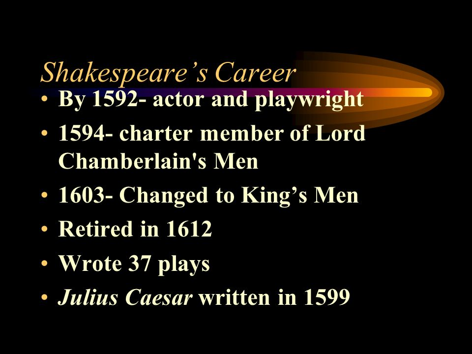 Shakespeare's Career By actor and playwright