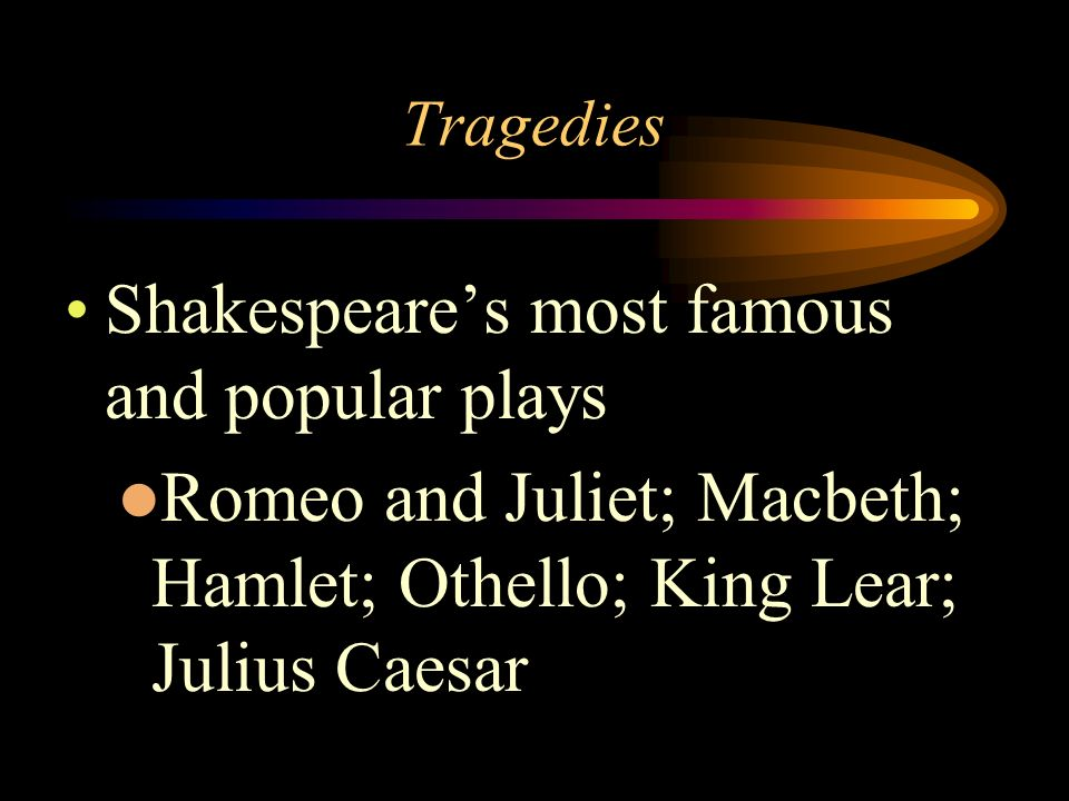 Shakespeare's most famous and popular plays
