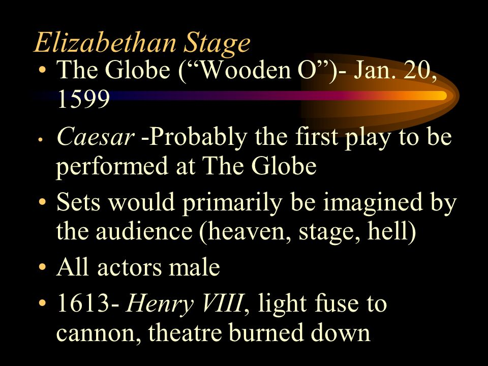 Elizabethan Stage The Globe ( Wooden O )- Jan. 20, 1599