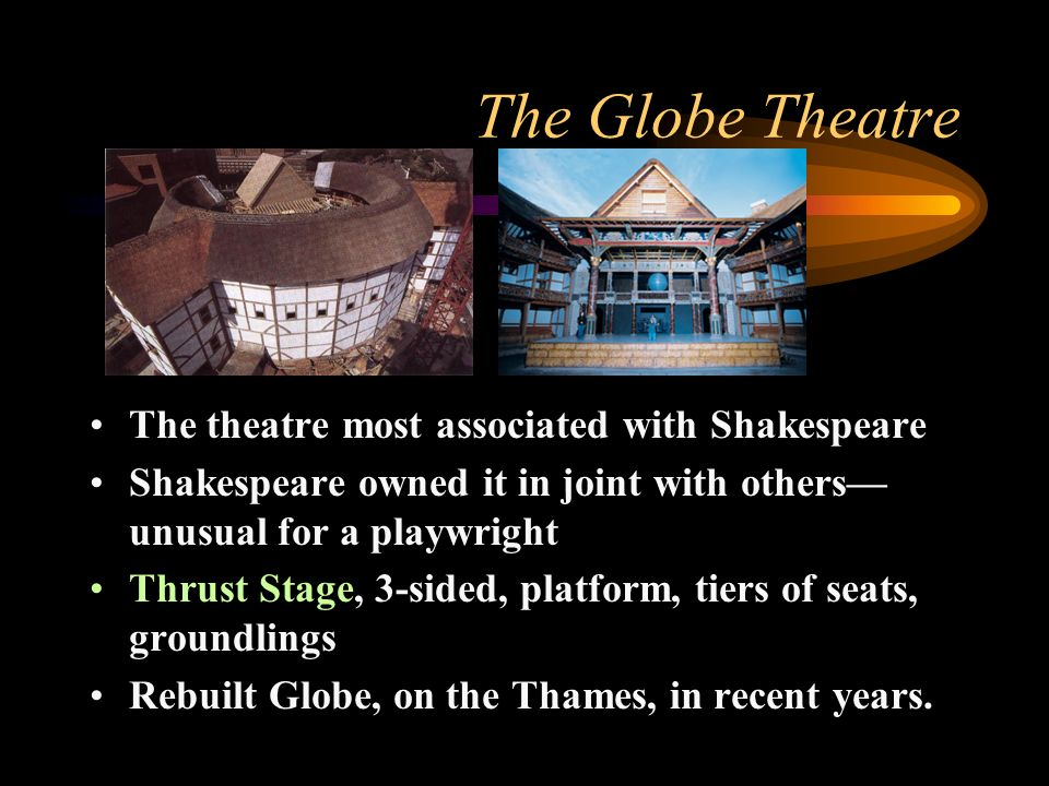 The Globe Theatre The theatre most associated with Shakespeare