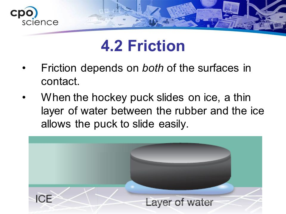 4.2 Friction Friction depends on both of the surfaces in contact.