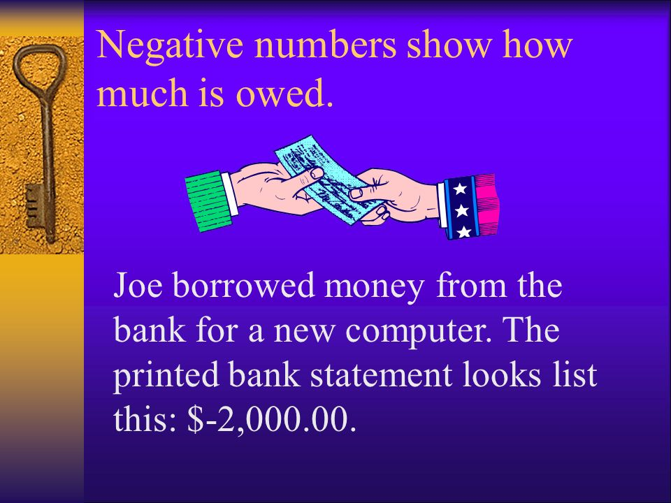 Negative numbers show how much is owed.
