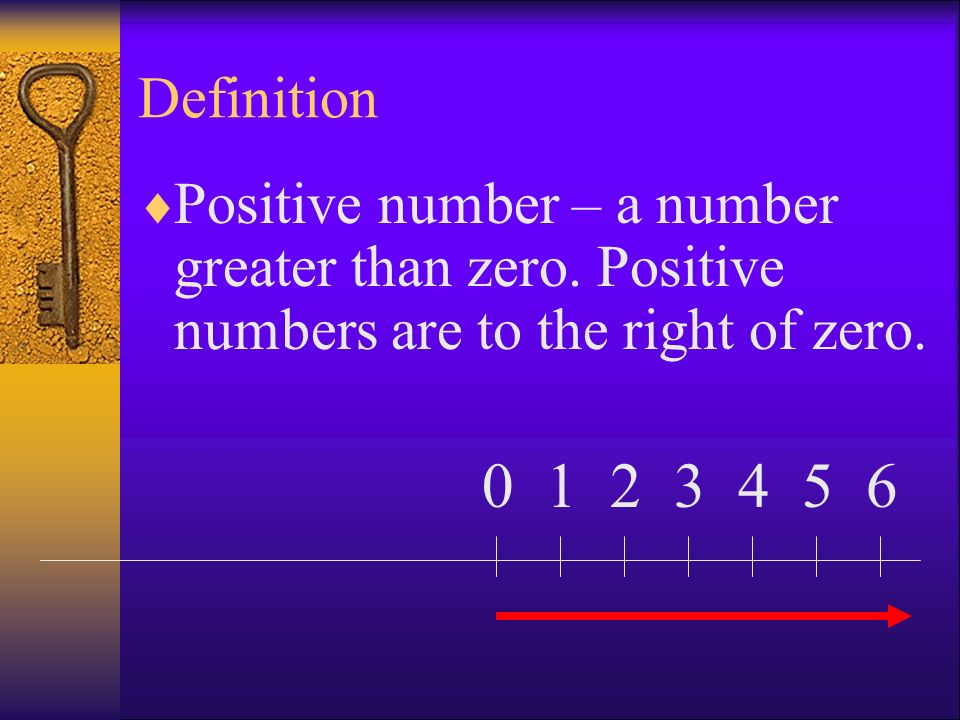 Definition Positive number – a number greater than zero. Positive numbers are to the right of zero.