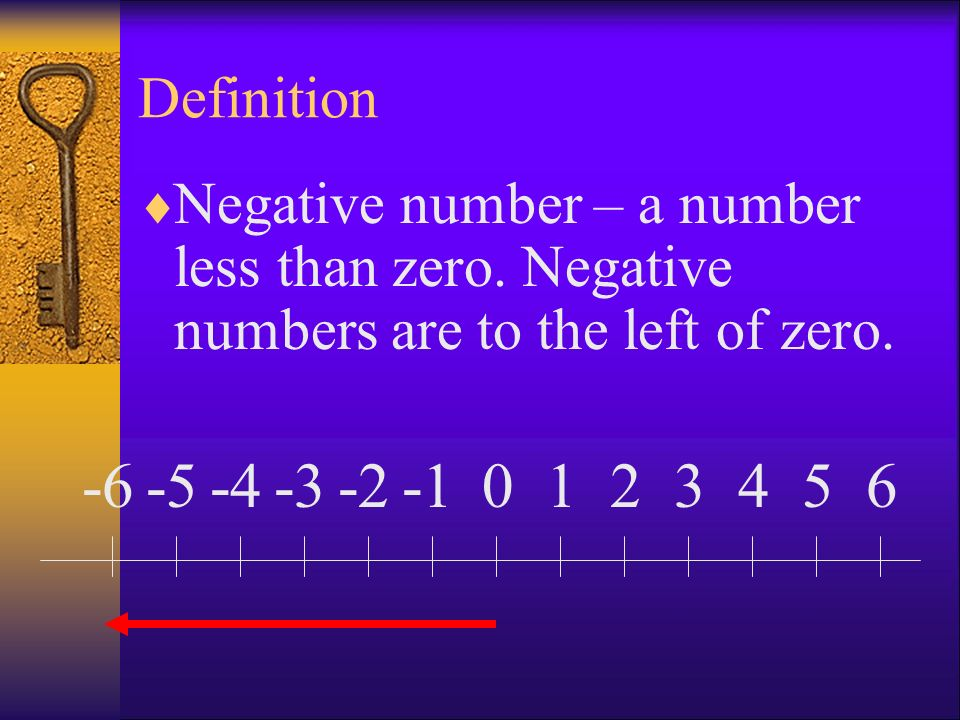 Definition Negative number – a number less than zero. Negative numbers are to the left of zero. -6.