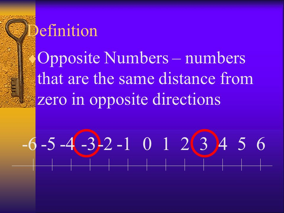Definition Opposite Numbers – numbers that are the same distance from zero in opposite directions. -6.