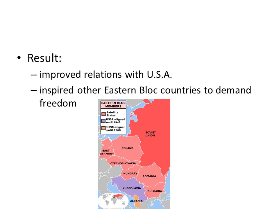 Result: improved relations with U.S.A.