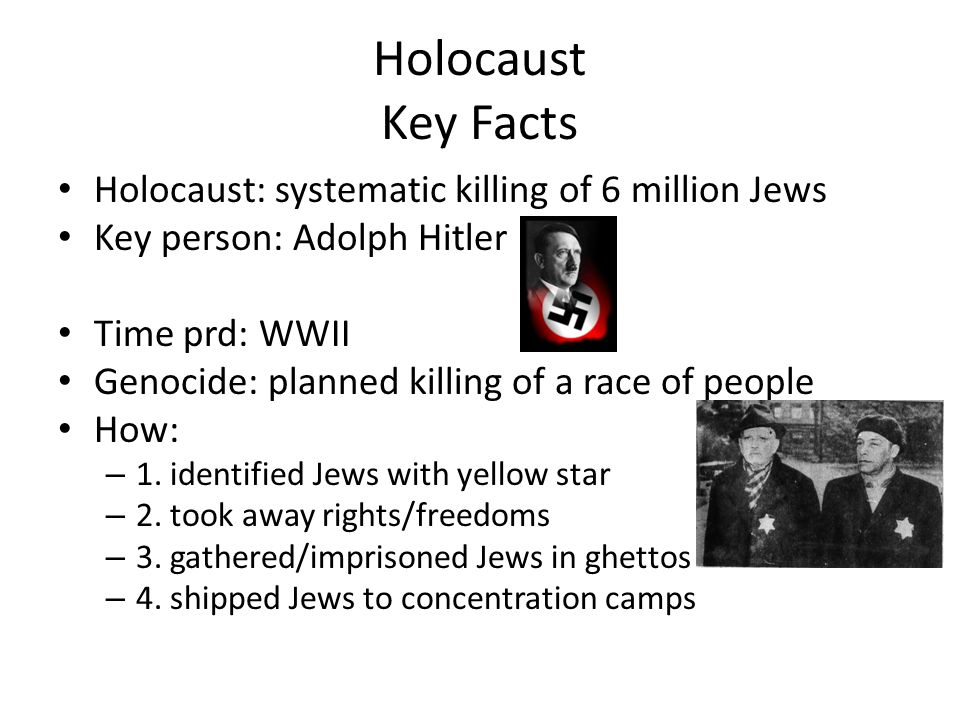 Holocaust Key Facts Holocaust: systematic killing of 6 million Jews