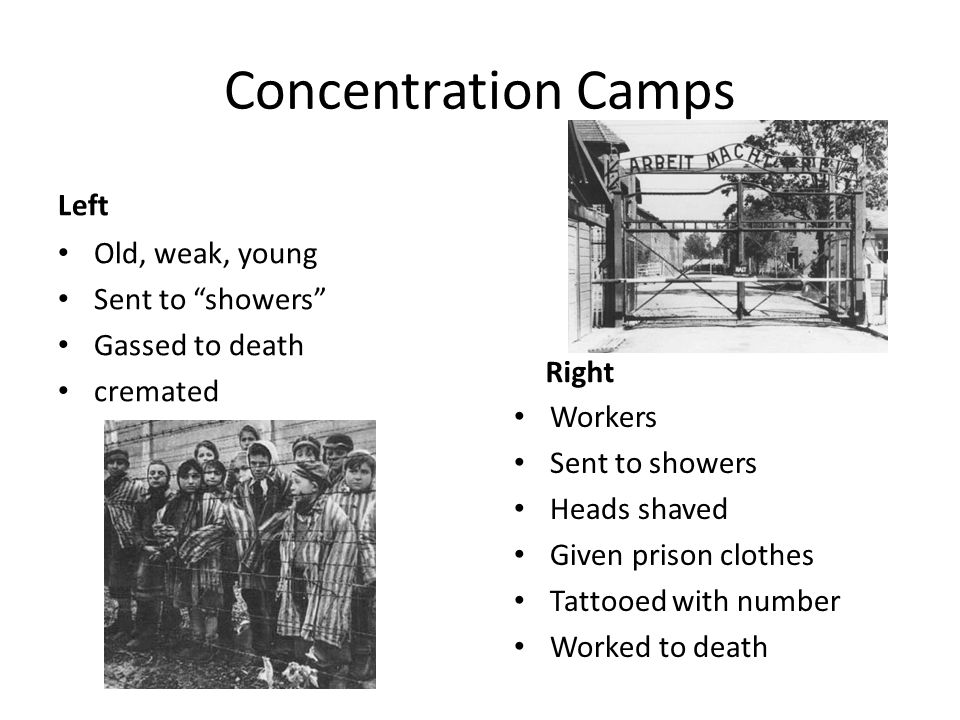 Concentration Camps Left Old, weak, young Sent to showers
