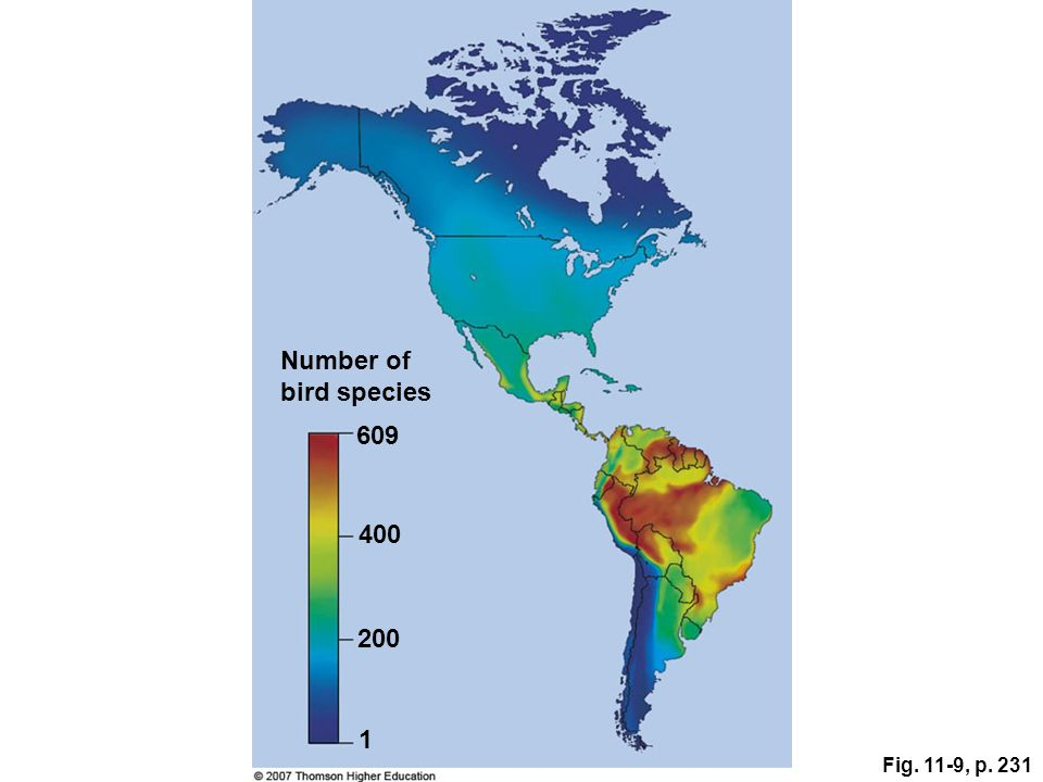 Number of bird species 609 400 200 1 Fig. 11-9, p. 231 Figure 11.9