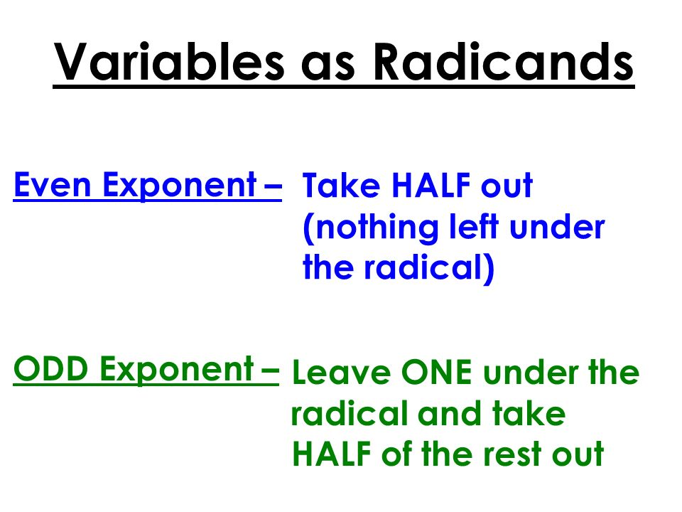 Variables as Radicands
