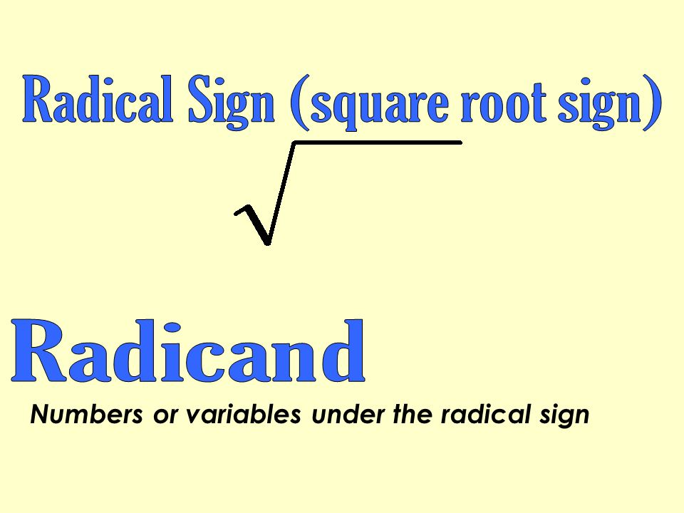 Radical Sign (square root sign)