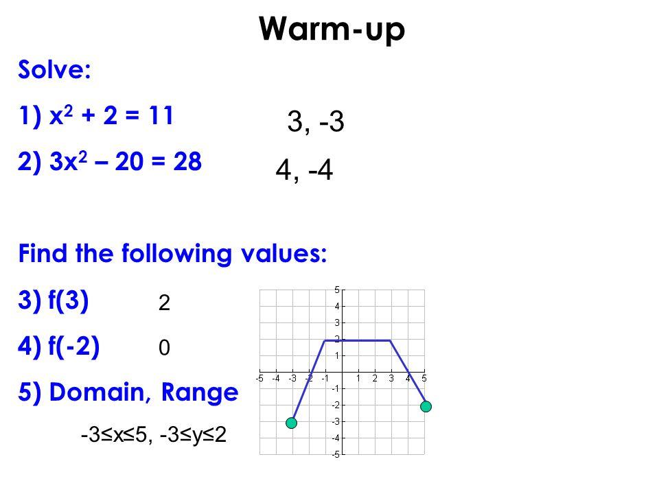 Warm-up 3, -3 4, -4 Solve: x2 + 2 = 11 3x2 – 20 = 28