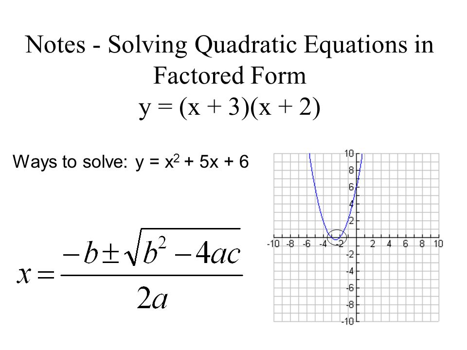 Notes - Solving Quadratic Equations in Factored Form y = (x + 3)(x + 2)