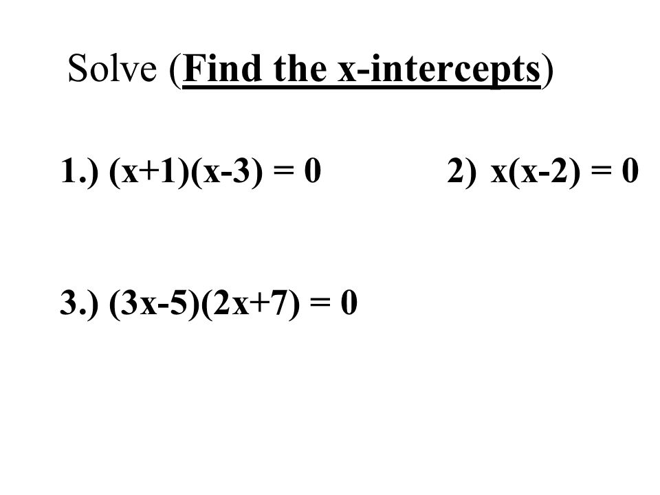 Solve (Find the x-intercepts)