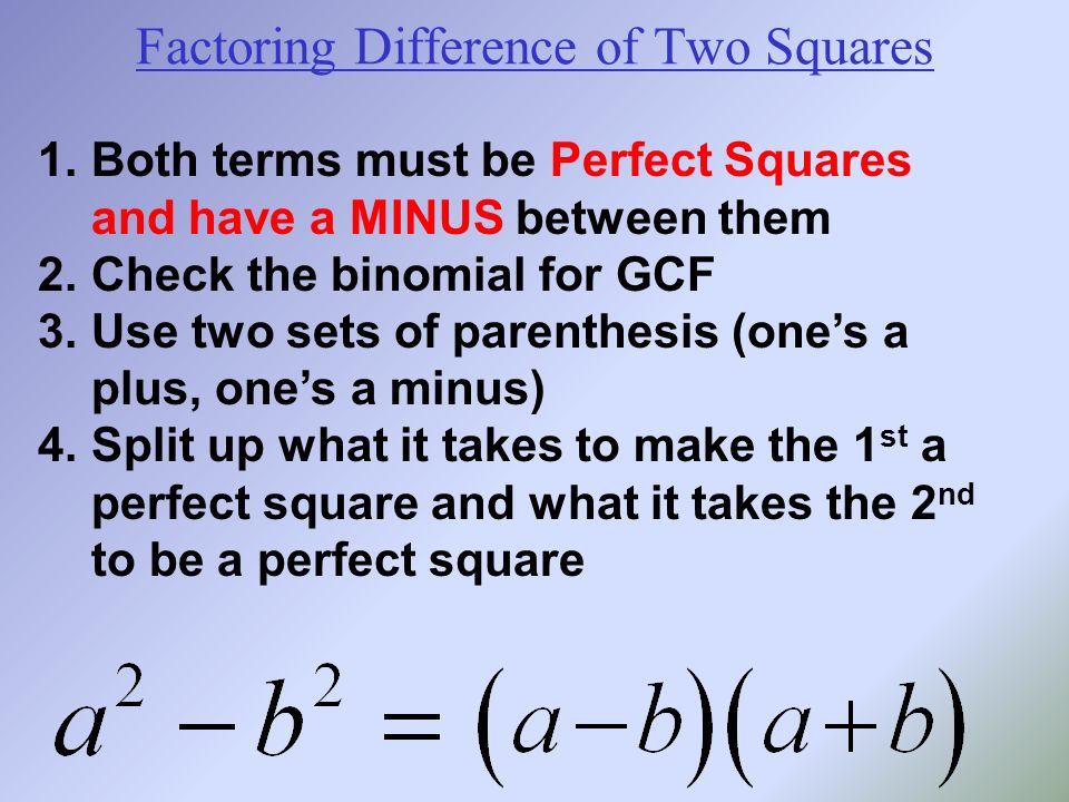 Factoring Difference of Two Squares