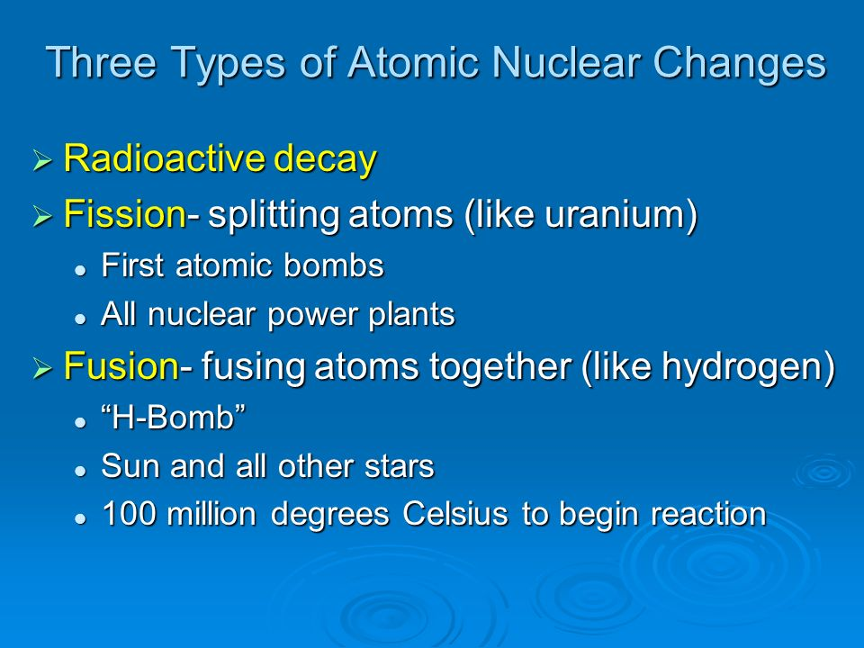 Three Types of Atomic Nuclear Changes