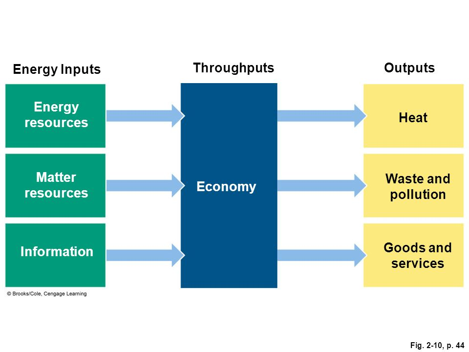 Energy Inputs Throughputs Outputs Energy resources Heat Matter