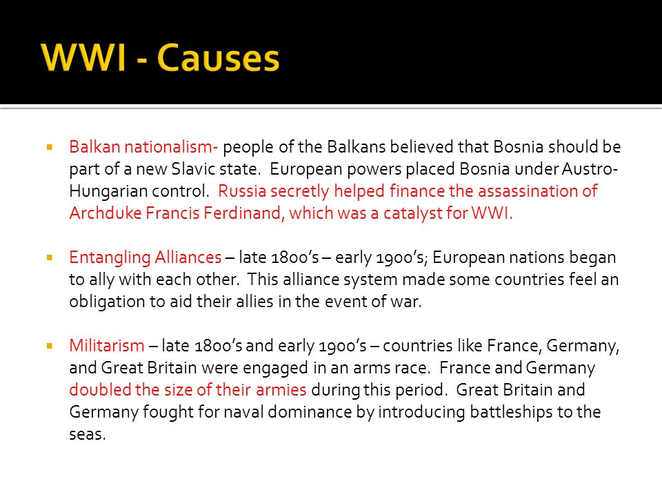 WWI - Causes