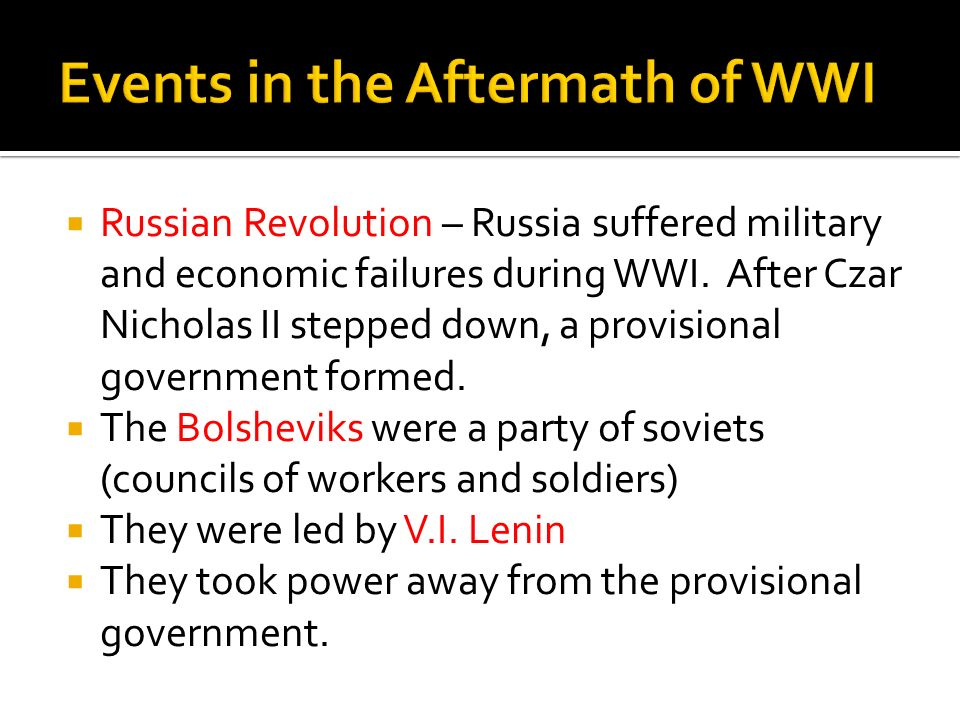 Events in the Aftermath of WWI