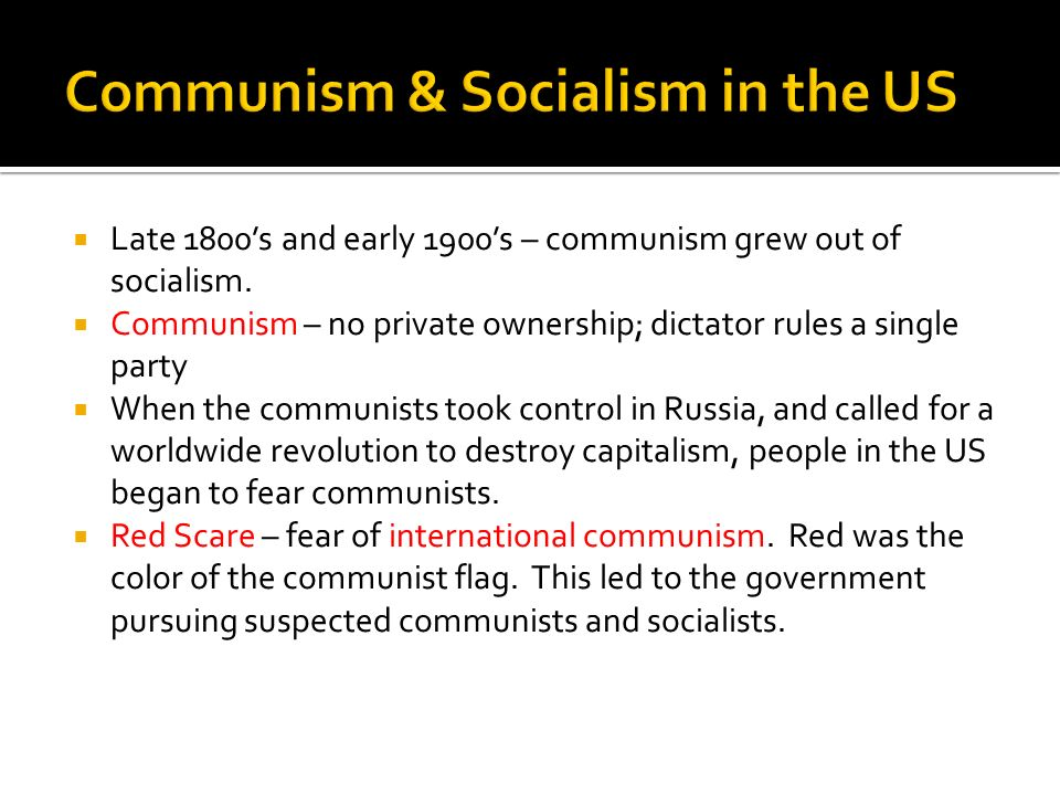 Communism & Socialism in the US