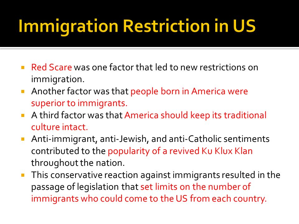 Immigration Restriction in US