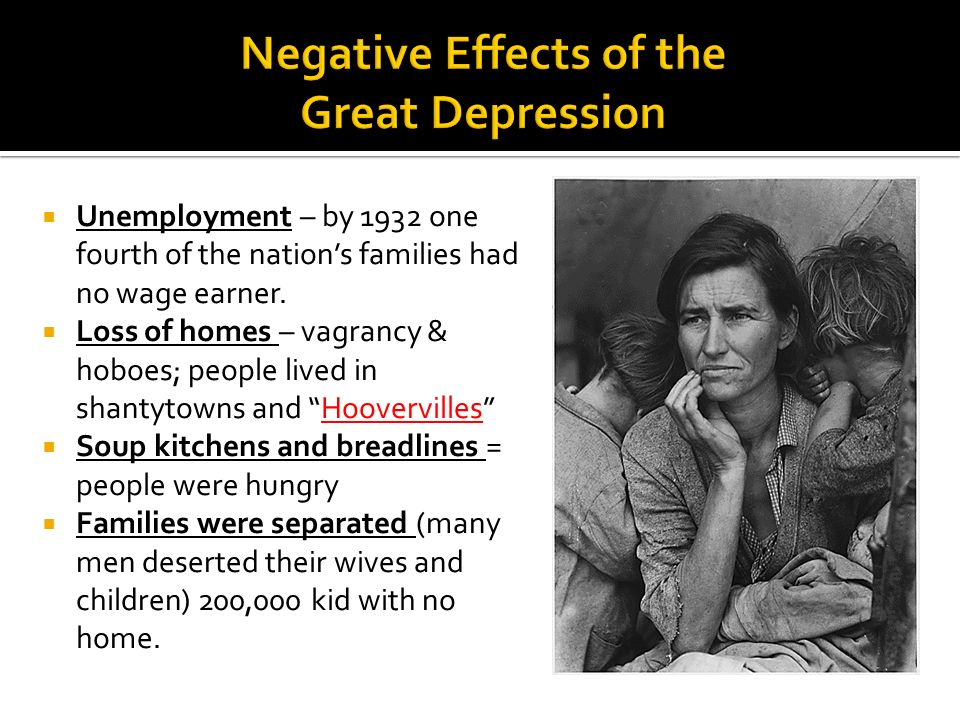 Negative Effects of the Great Depression