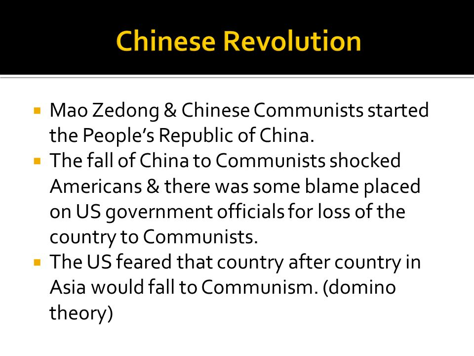Chinese Revolution Mao Zedong & Chinese Communists started the People's Republic of China.