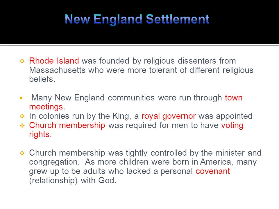New England Settlement