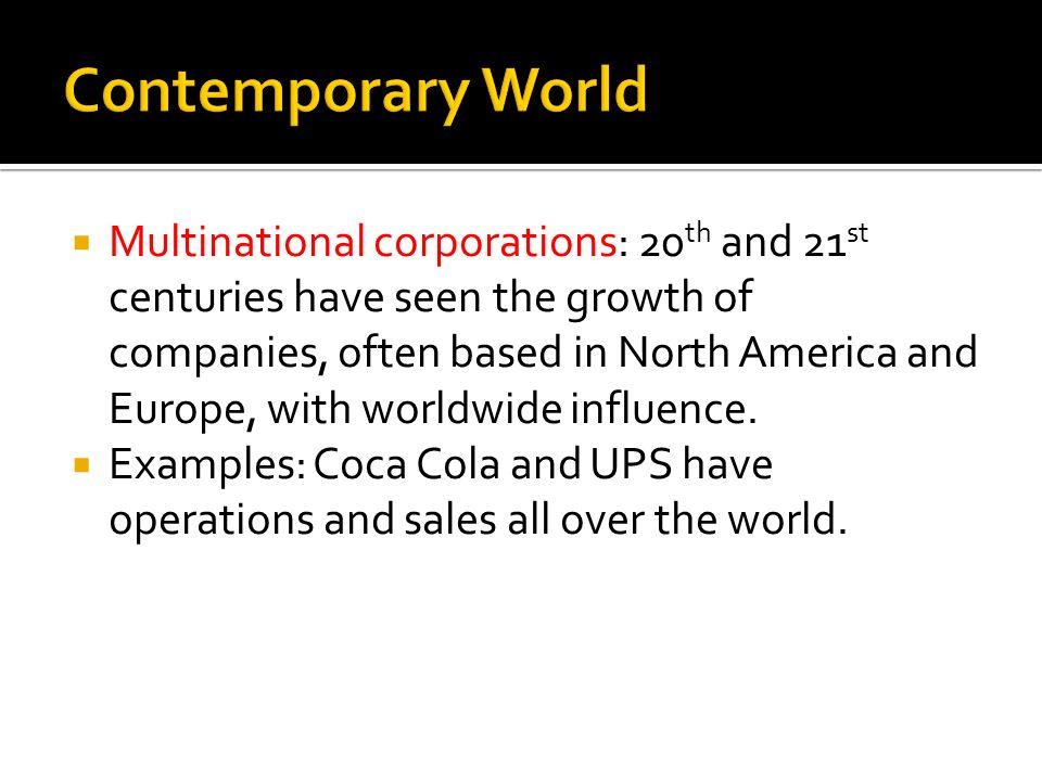 Contemporary World