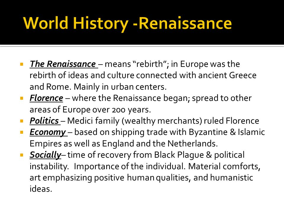 World History -Renaissance