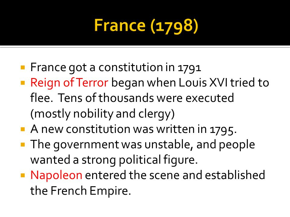 France (1798) France got a constitution in 1791