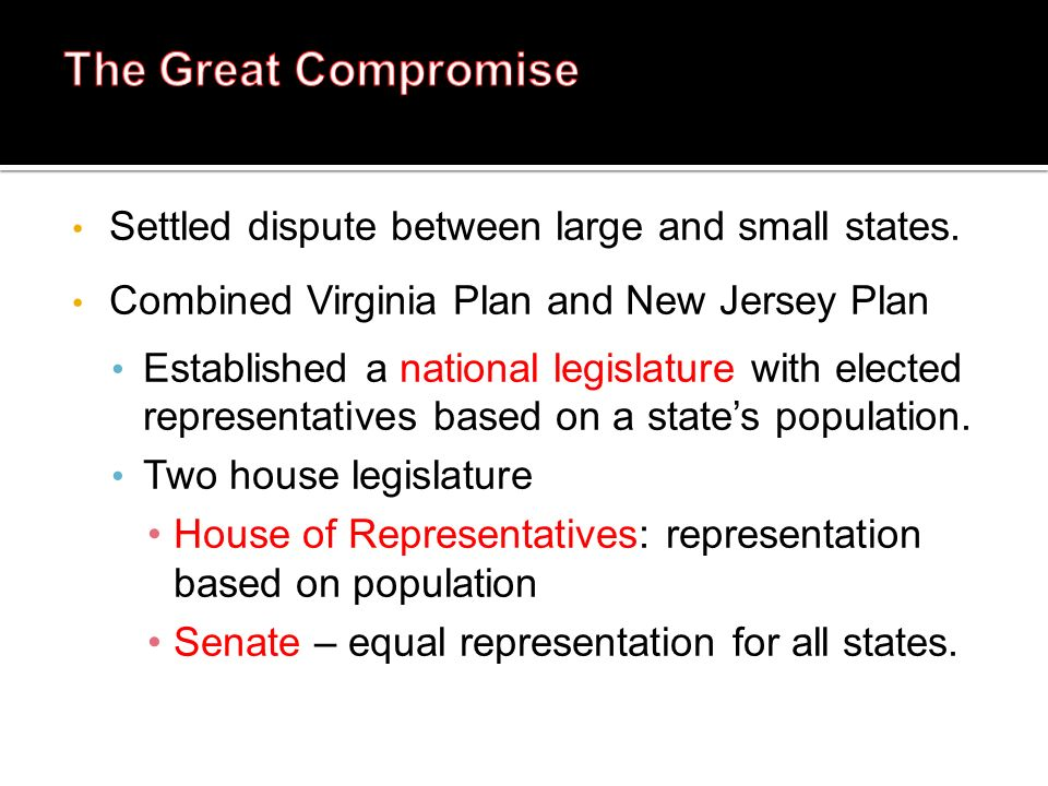 The Great Compromise Settled dispute between large and small states.