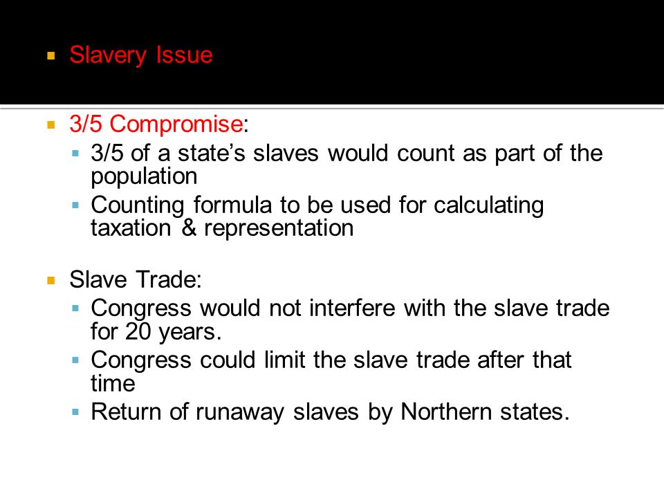 Slavery Issue 3/5 Compromise: 3/5 of a state's slaves would count as part of the population.