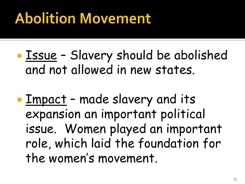 Abolition Movement Issue – Slavery should be abolished and not allowed in new states.
