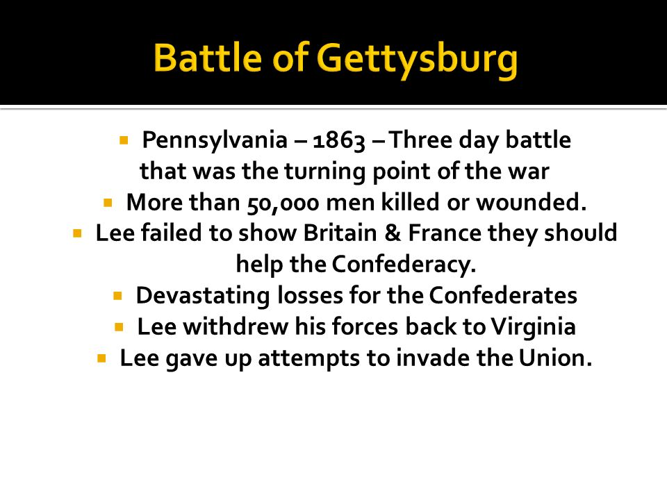Battle of Gettysburg Pennsylvania – 1863 – Three day battle