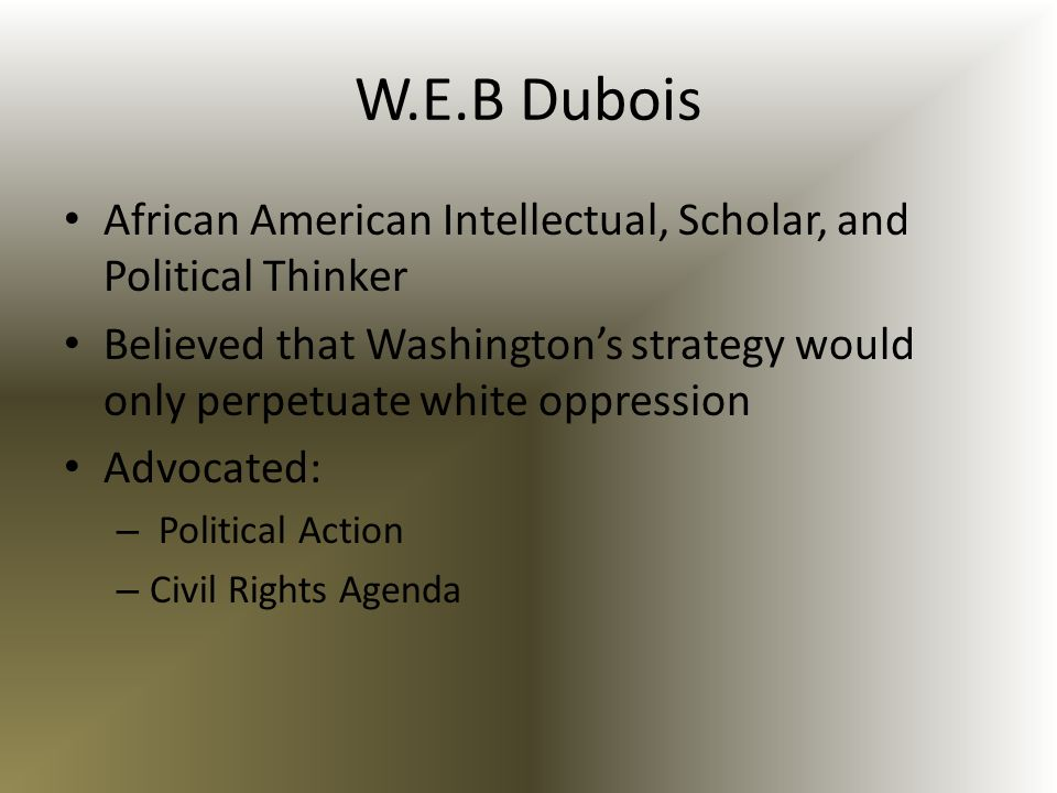 W.E.B Dubois African American Intellectual, Scholar, and Political Thinker.