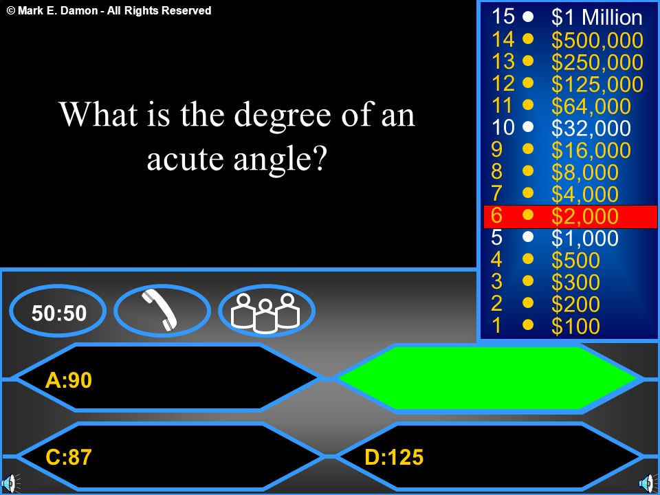What is the degree of an acute angle