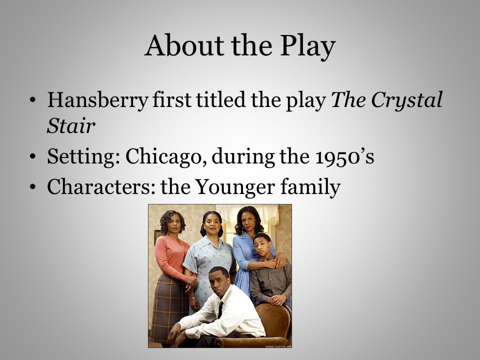 About the Play Hansberry first titled the play The Crystal Stair